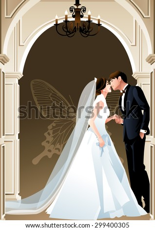 Happy Wedding Photo - cute girl and boy standing with posing kiss and holding hand in front of classic arch door of luxury hall on brown background of wall with butterfly pattern : vector illustration - stock vector