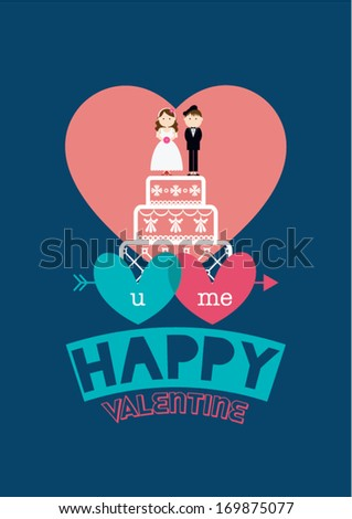 happy wedding poster template vectorillustration background stock