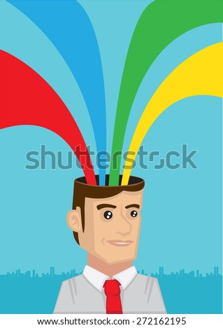 Happy white collar worker with multicolor rainbow rays coming out of cartoon head. Vector cartoon illustration