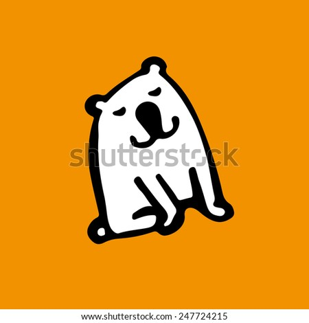 Happy white dog icon. - stock vector