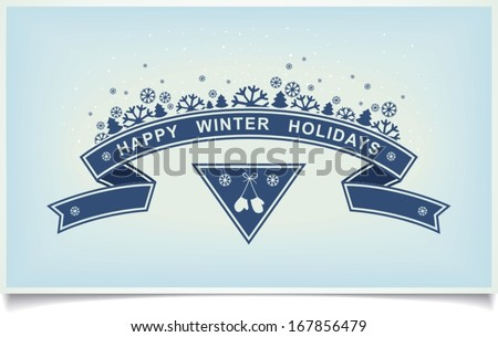 Happy winter holiday greeting card with ribbon design and snowy composition on light blue background. vector illustration eps10
