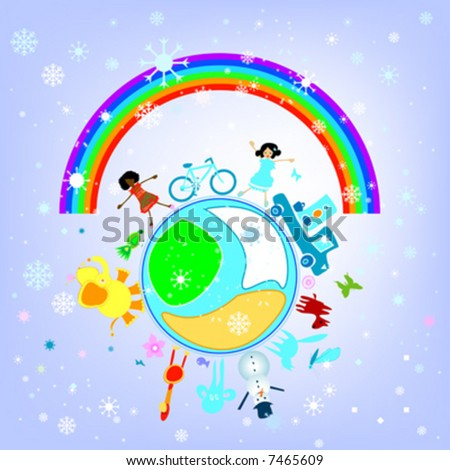 happy winter preschool world - composition with kids, animals and earth planet