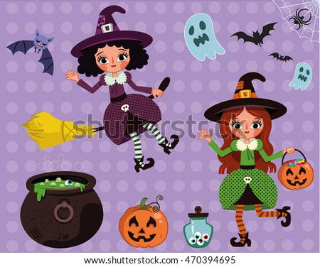 Happy Witches (Vector illustration)