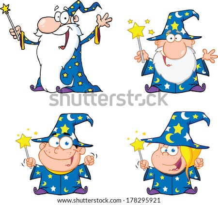 Happy Wizards Cartoon Characters. Set Vector Collection - stock vector