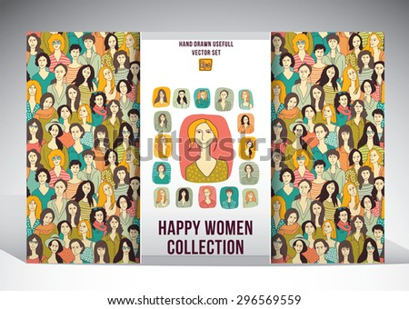 Happy woman collection set. Set with seamless pattern and different smiling woman person icons. Color vector illustration. - stock vector