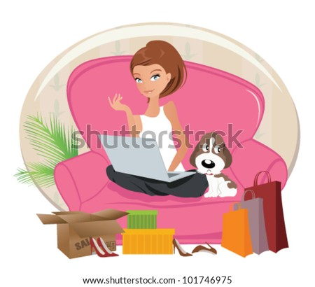 Happy Woman shopping online .Internet Shopping - stock vector