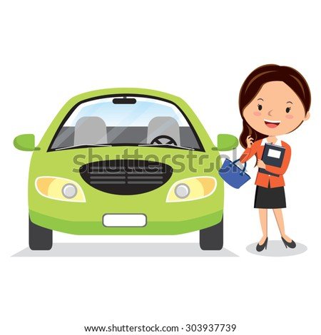 Happy woman with a car. Vector illustration of a cheerful young woman standing beside her car. - stock vector