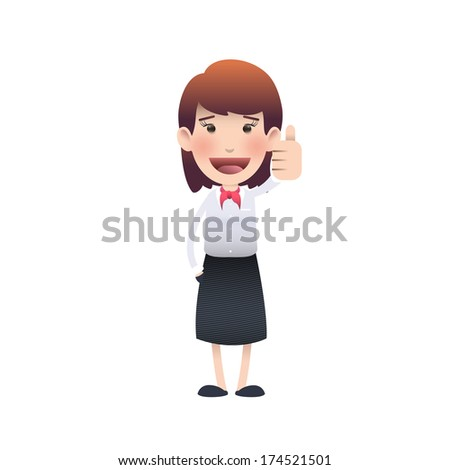 Happy woman with her thumb up over isolated background. Vector design.