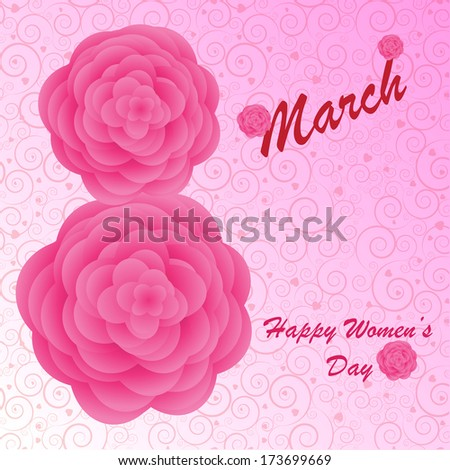 Happy Women's Day background on the pink phone