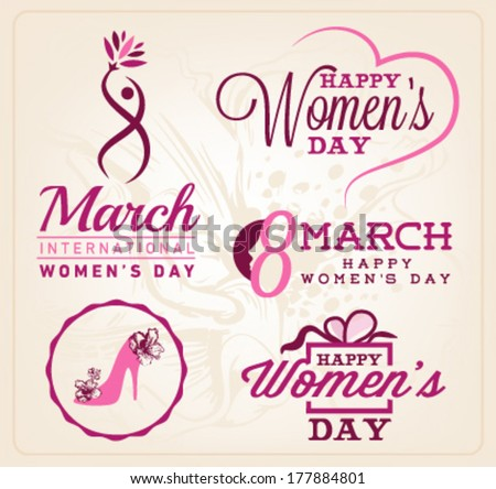 Happy Women's Day Badges and Labels. Vector Illustrations - stock vector
