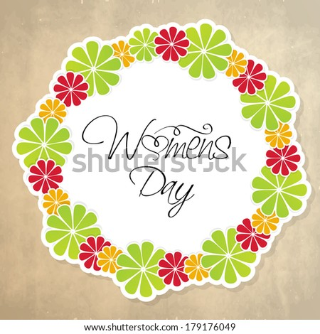 Happy Women's Day celebrations concept with stylish text in a floral decorate frame design. - stock vector
