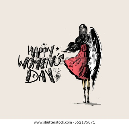 Happy womens day greeting card design hand drawn sketch vector illustration