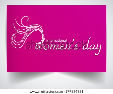 Happy Women's Day greeting card on pink color background - stock vector