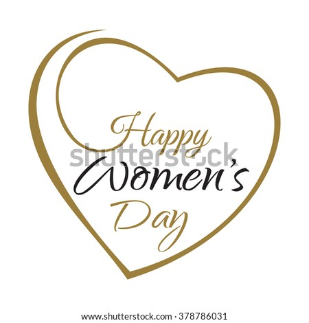 Happy Women's Day. Hand lettering on the background framework of hearts. Vector greeting inscription with the International Women's Day - stock vector