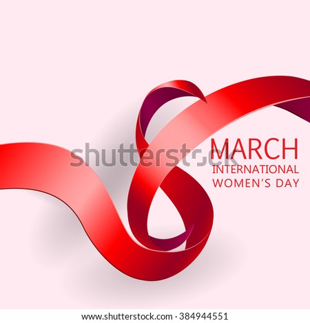 Happy Women's Day Paper Design.  Ribbon March 8 greeting card. Vector logo illustration. - stock vector