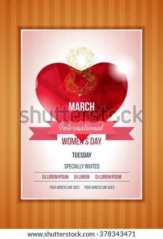 Happy Women's Day Party Flyer. Heart on a light background with a ribbon. Love symbol.  International Happy Women's Day concept with heart and text 8th March. Postcard to March 8. Polygonal heart.