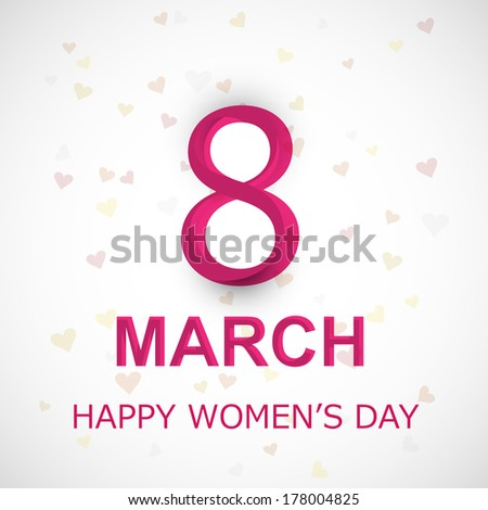 Happy Women's Day with text 8th March background  - stock vector