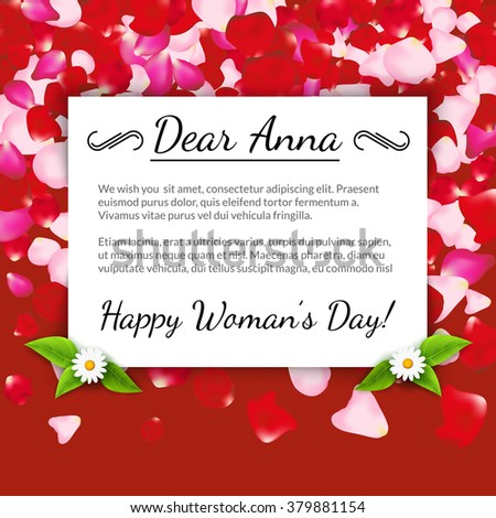Happy womens day greeting card gift stock vector royalty free happy womens day greeting card gift card on petals background design 8th march m4hsunfo