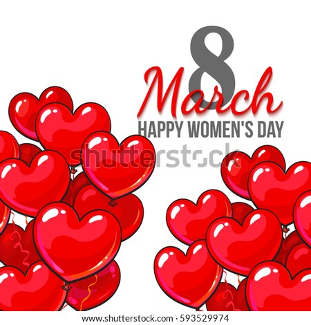Happy womens day 8 march greeting stock vector 593529974 shutterstock happy womens day 8 march greeting card banner design with red heart shaped balloons m4hsunfo