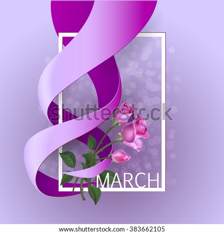 Happy Womens Day Paper Design.  Ribbon March 8 greeting card with pink roses and white frame. Vector logo illustration. - stock vector