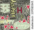 happy words and hand drawn hearts monochrome retro colors graffiti seamless pattern on dark background - stock vector