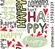 happy words and hand drawn hearts monochrome retro colors graffiti seamless pattern on white background - stock vector