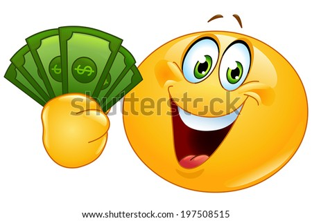 Happy yellow ball holding dollar bills - stock vector