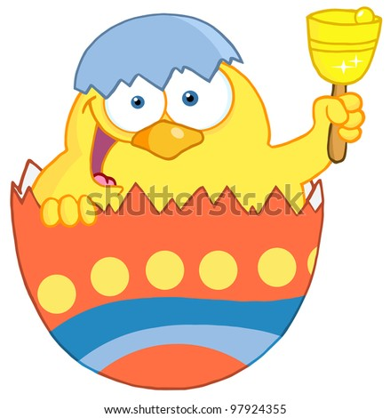 Happy Yellow Chick Peeking Out Of An Easter Egg And Ringing A Bell