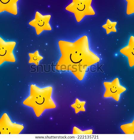 Happy yellow cosmic stars vector seamless pattern - stock vector