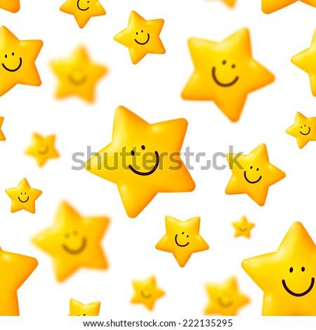 Happy yellow stars vector seamless pattern - stock vector