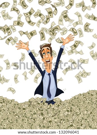 happy young business man bathing in a heap of money - stock vector