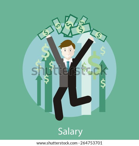 Happy young business man enjoying dollar rain. Concept of salary in flat design style. Can be used for web banners, marketing and promotional materials, presentation templates - stock vector