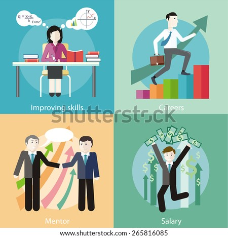 Happy young business man enjoying dollar rain. Financial adviser or business mentor help team partner up to profit growth. Improving skills. Business man with case rises to top step of stairs.  - stock vector