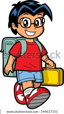 Happy Young Caucasian or Asian Schoolboy Wearing Glasses with Knapsack and Lunch Box - stock vector