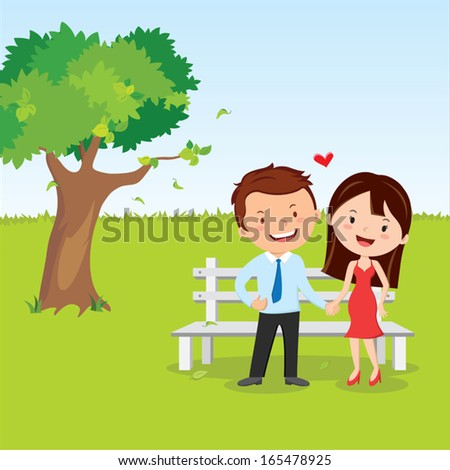 Happy young couple - stock vector