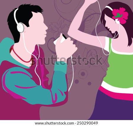 Happy young couple listening music and have romantic time. - stock vector