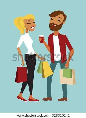 Happy young couple of hipsters with bags  - stock vector