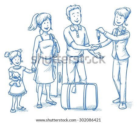 Happy young family at a welcome scene in hotel, receiving their room keys, their luggage standing nearby. Hand drawn cartoon doodle vector illustration. - stock vector