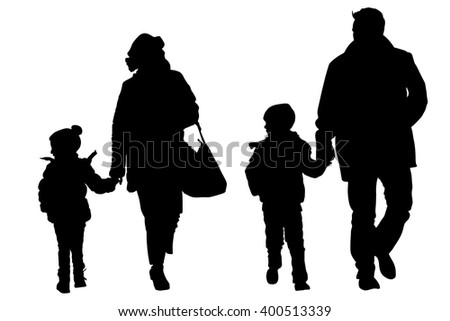 happy young family holding hands vector silhouette illustration isolated on background. Fathers day. - stock vector