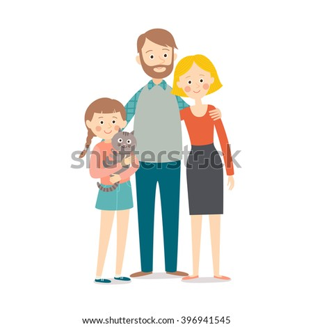 happy young family; mother, father, their daughter and a cat isolated against white background (focus on the child) - stock vector