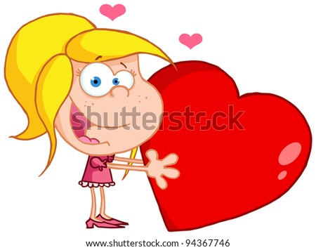 Happy Young Girl Holds A Red Heart