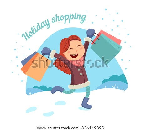 Happy young girl makes shopping for the holidays in a snowy winter day. Vector illustration. - stock vector