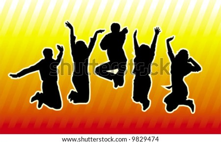 Happy young group of people - stock vector
