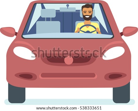 Happy young man driving red car flat vector