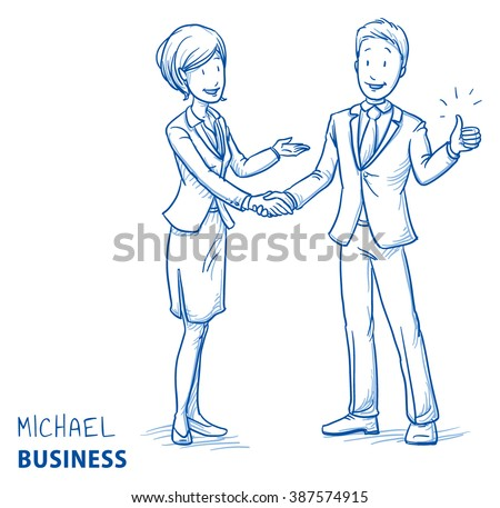 Happy young man in business clothes showing thumb up and shaking hands with a business woman. Hand drawn line art cartoon vector illustration. - stock vector
