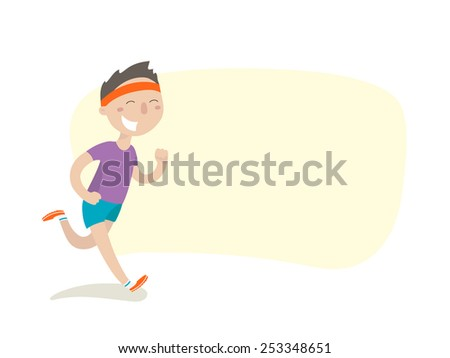 Happy young man on morning jog - stock vector