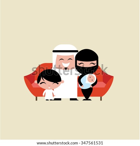 happy young muslim family - stock vector
