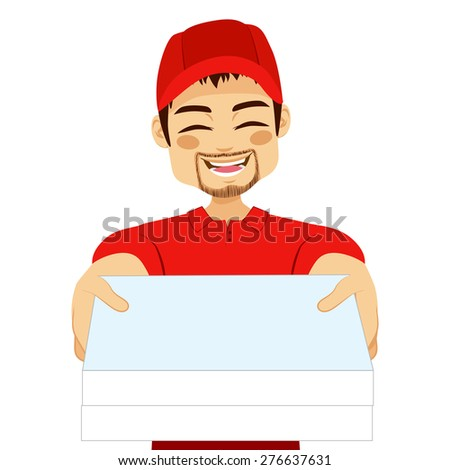 Happy young pizza delivery guy portrait holding pizza cardboard delivering order - stock vector