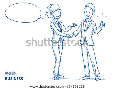 Happy young woman in business clothes explaining something and shaking hands with a young man showing thumb up. Hand drawn line art cartoon vector illustration. - stock vector
