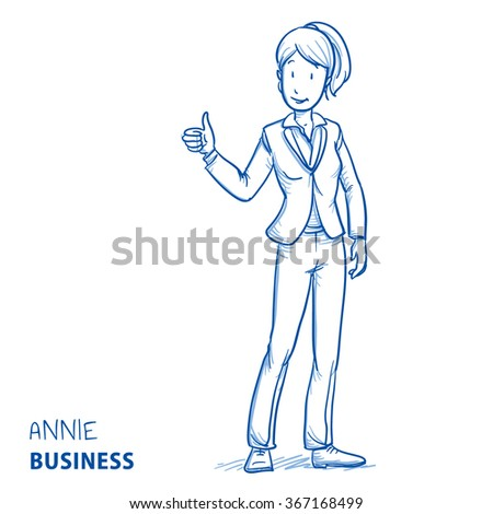 Happy young woman in business clothes showing thumb up. Hand drawn line art cartoon vector illustration. - stock vector